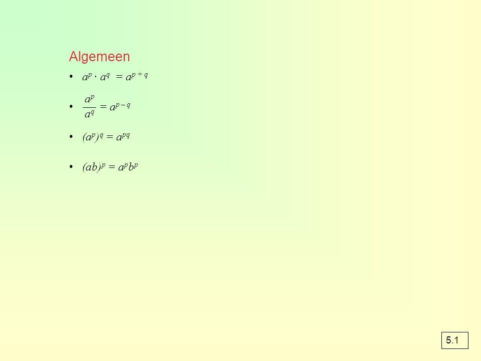 Algemeen ap · aq = ap + q = ap – q (ap)q = apq (ab)p = apbp ap aq 5.1