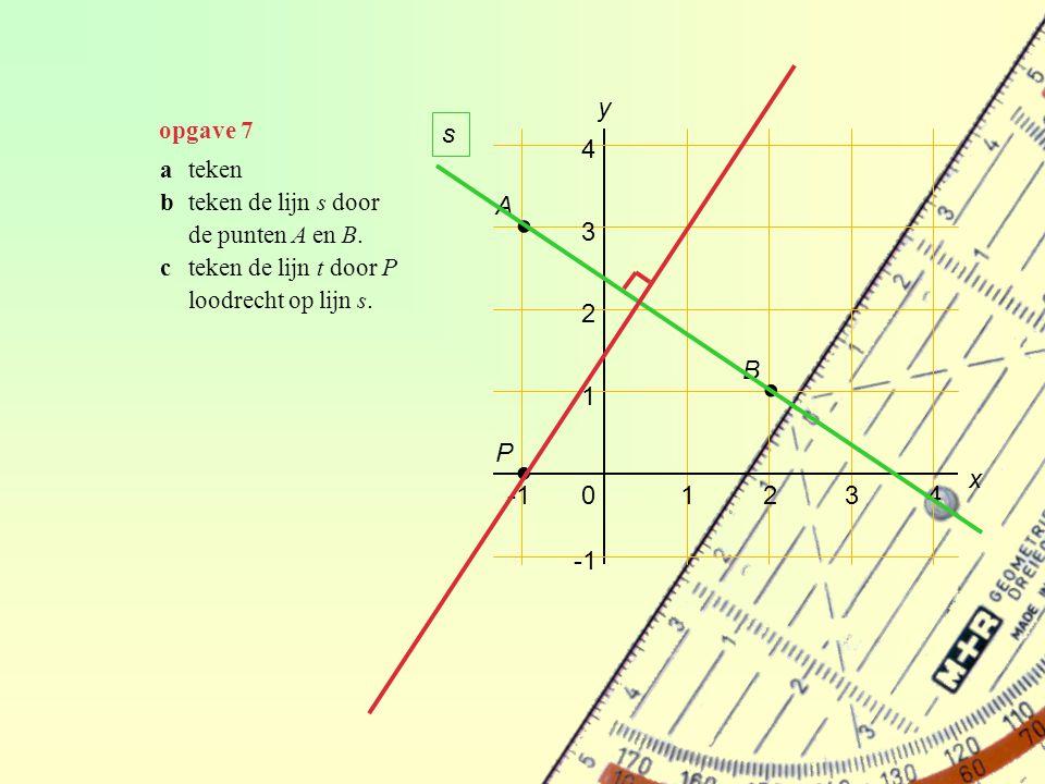 ∙ ∙ ∙ y s 4 A 3 2 B 1 P x -1 1 2 3 4 -1 opgave 7 a teken