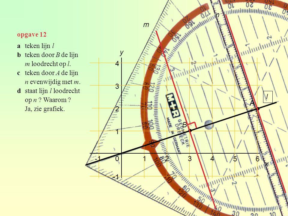 ∙ ∙ n m y 4 3 l A 2 B 1 -1 1 2 3 4 5 6 x -1 opgave 12 a teken lijn l