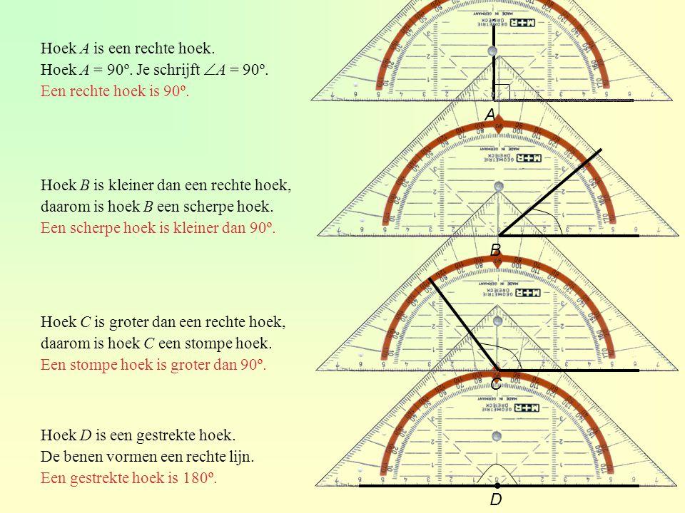 ∙ A B C D Hoek A is een rechte hoek.