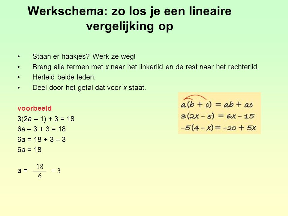 Werkschema: zo los je een lineaire vergelijking op