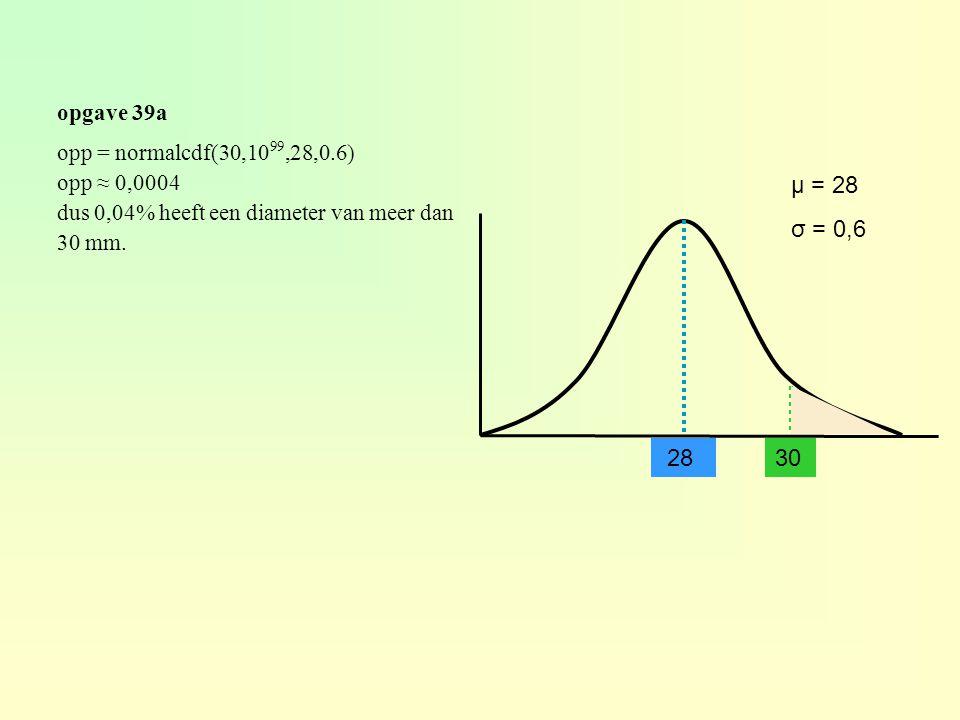 μ = 28 σ = 0,6 28 30 opgave 39a opp = normalcdf(30,1099,28,0.6)