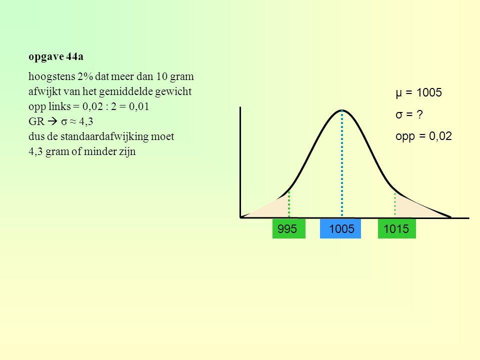 opgave 44a hoogstens 2% dat meer dan 10 gram. afwijkt van het gemiddelde gewicht. opp links = 0,02 : 2 = 0,01.