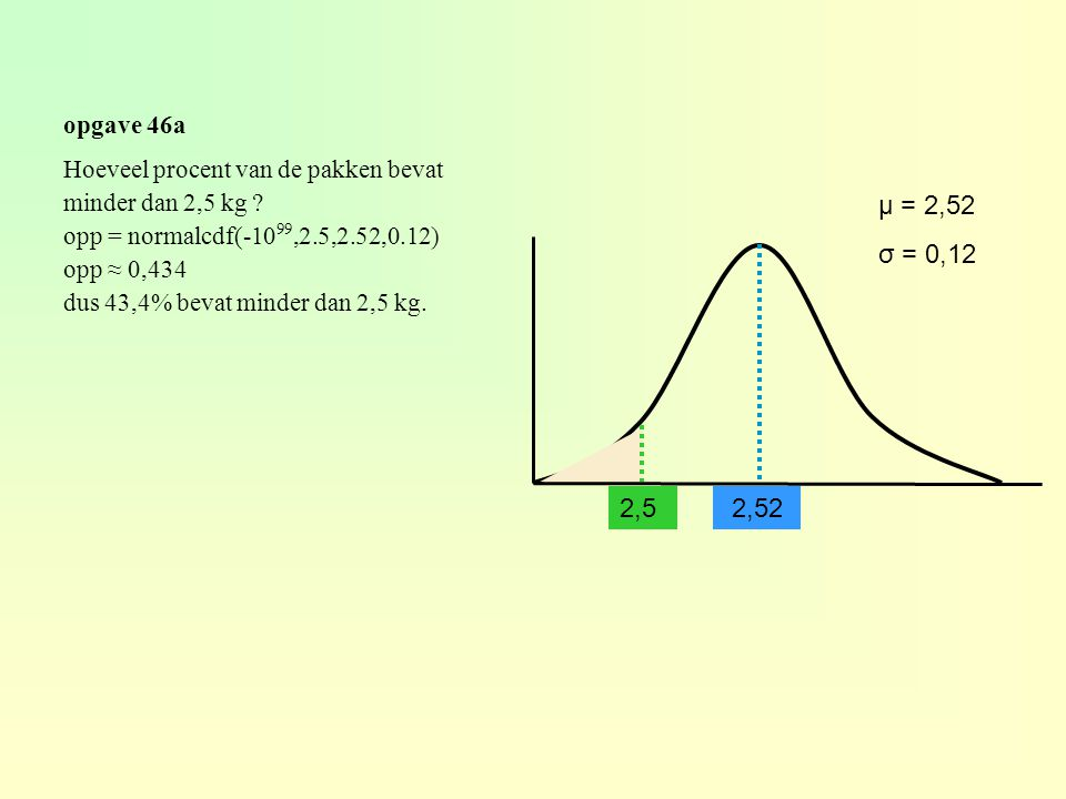 opgave 46a Hoeveel procent van de pakken bevat. minder dan 2,5 kg opp = normalcdf(-1099,2.5,2.52,0.12)
