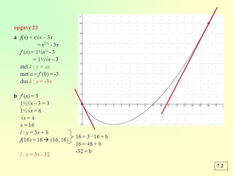 ∙ ∙ opgave 22 a f(x) = x√x – 3x = x1½ - 3x f'(x) = 1½x½ - 3 = 1½√x – 3