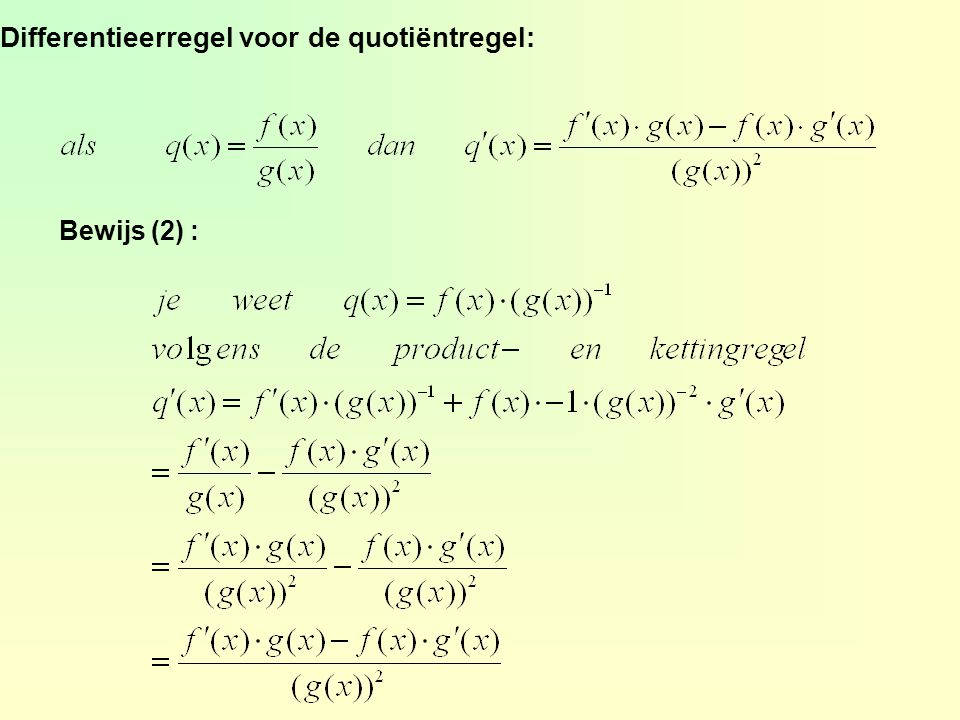 Differentieerregel voor de quotiëntregel: