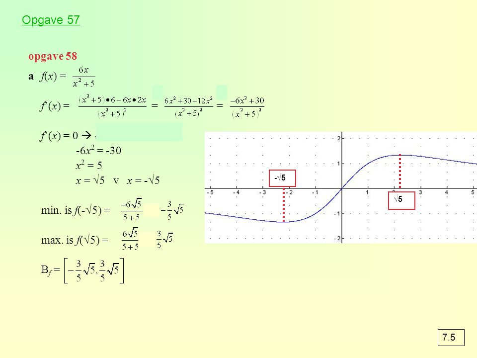 Opgave 57 opgave 58 a f(x) = f'(x) = = = f'(x) = 0  -6x2 + 30 = 0