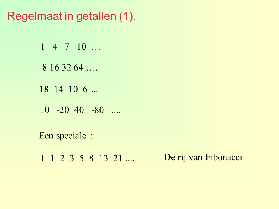Regelmaat in getallen (1).