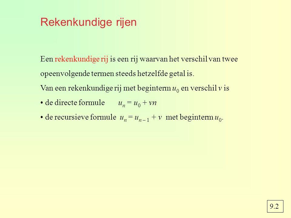 Rekenkundige rijen Een rekenkundige rij is een rij waarvan het verschil van twee. opeenvolgende termen steeds hetzelfde getal is.