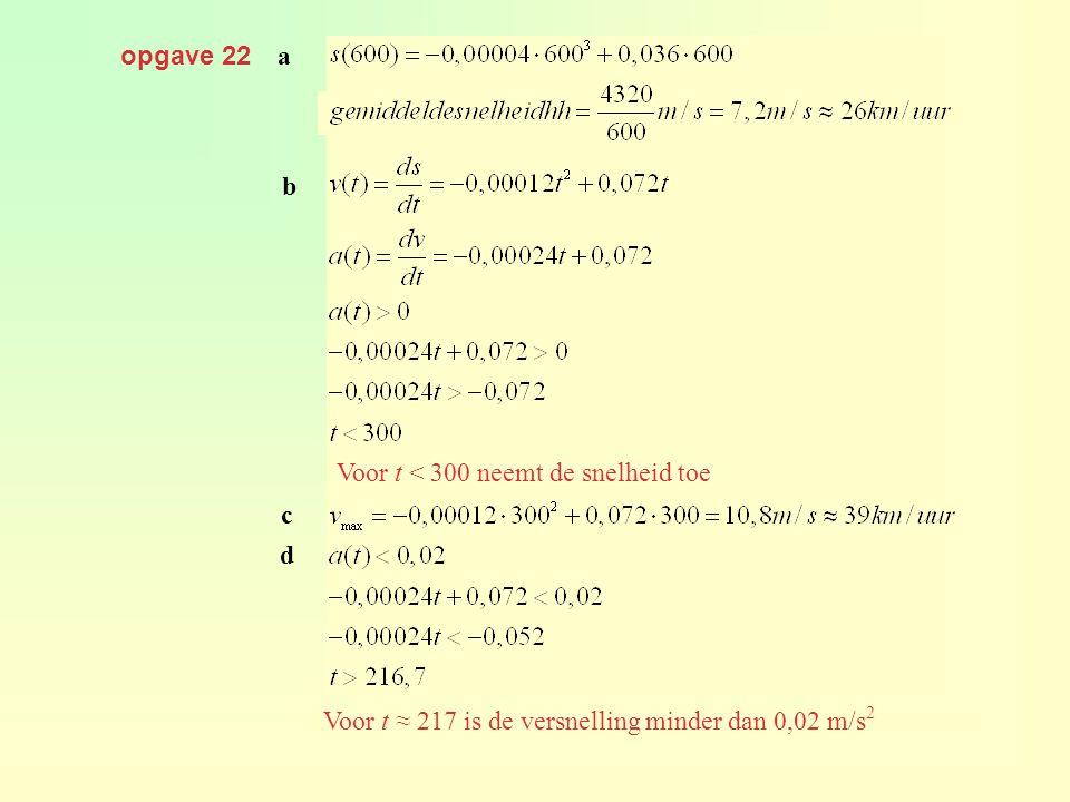 opgave 22 a. gemiddelde snelheid = b. geeft. Voor t < 300 neemt de snelheid toe. c. d. geeft.