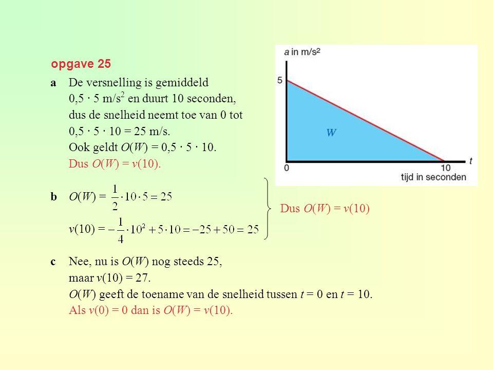 opgave 25 a De versnelling is gemiddeld. 0,5 · 5 m/s2 en duurt 10 seconden, dus de snelheid neemt toe van 0 tot.