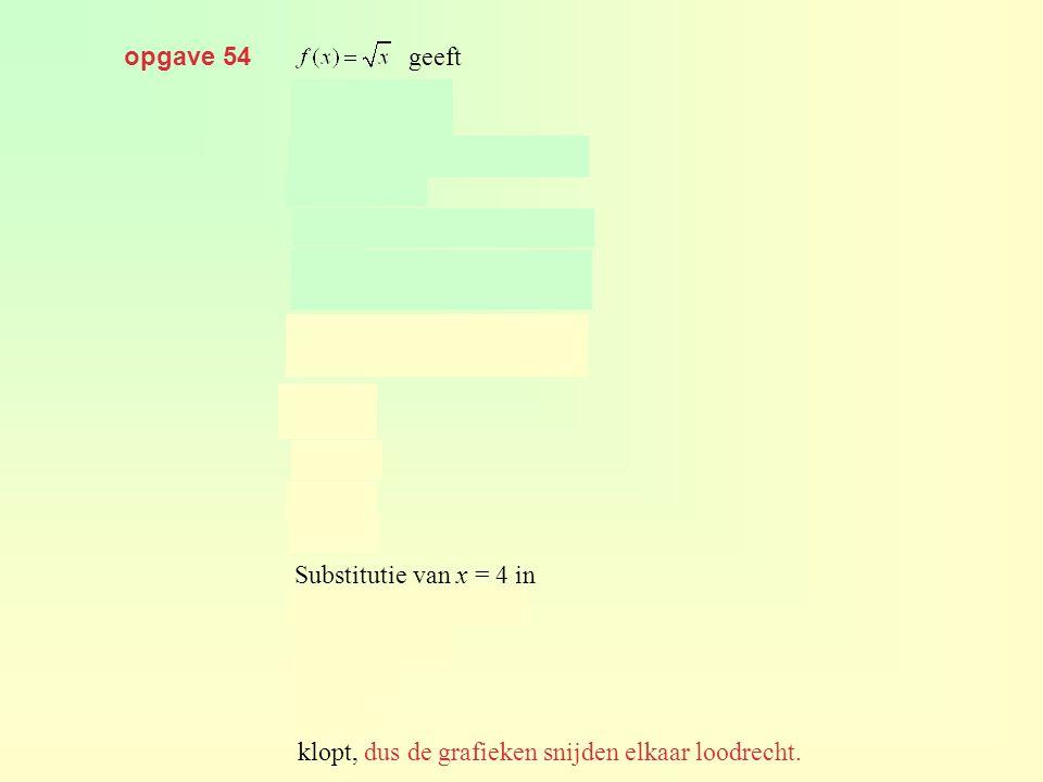opgave 54 geeft. geeft. geeft. Substitutie van x = 4 in.