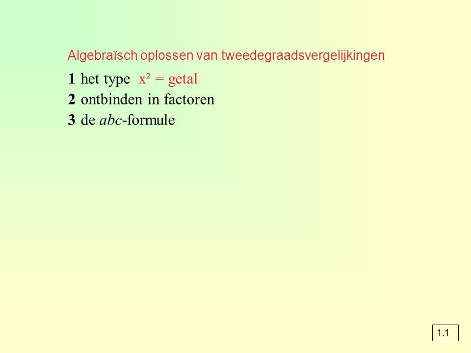 1 het type x² = getal 2 ontbinden in factoren 3 de abc-formule