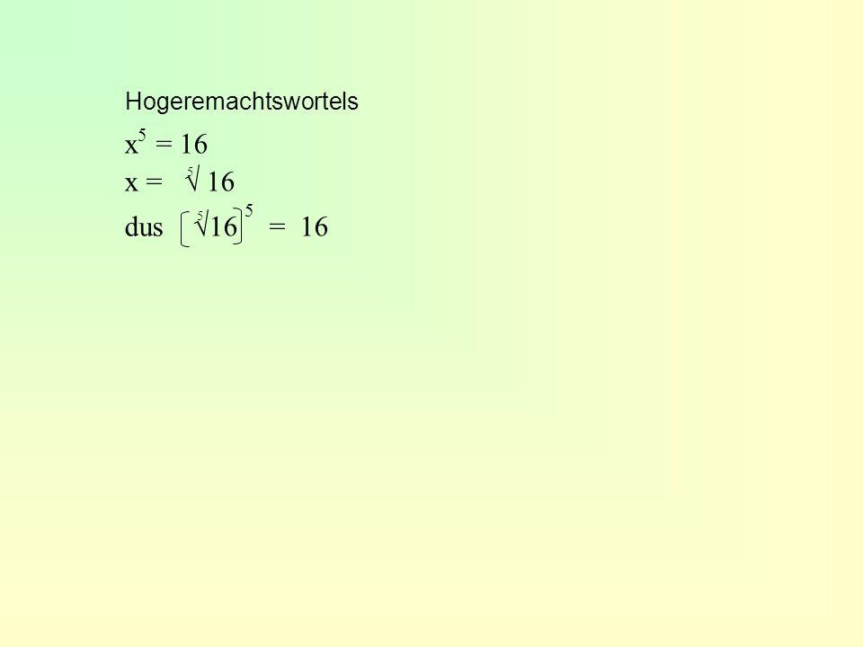 Hogeremachtswortels x5 = 16 x = √ 16 dus √16 5 = 16 5 5