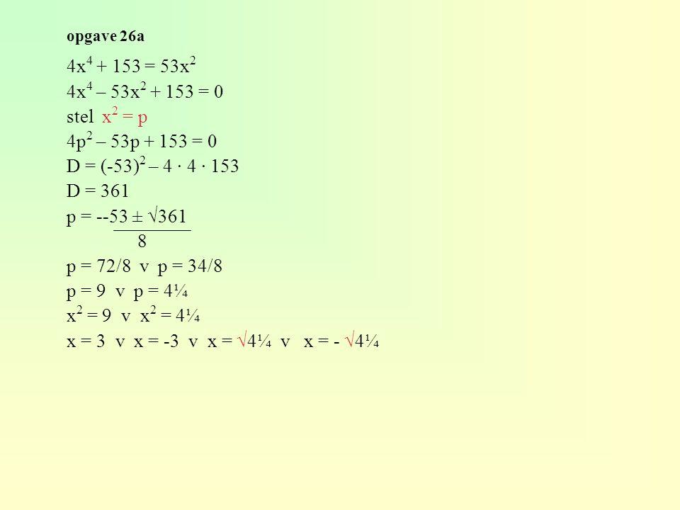 4x4 + 153 = 53x2 4x4 – 53x2 + 153 = 0 stel x2 = p 4p2 – 53p + 153 = 0
