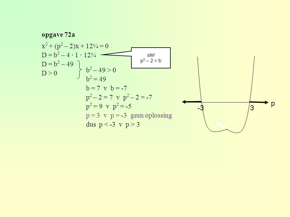 p -3 3 opgave 72a x2 + (p2 – 2)x + 12¼ = 0 D = b2 – 4 · 1 · 12¼
