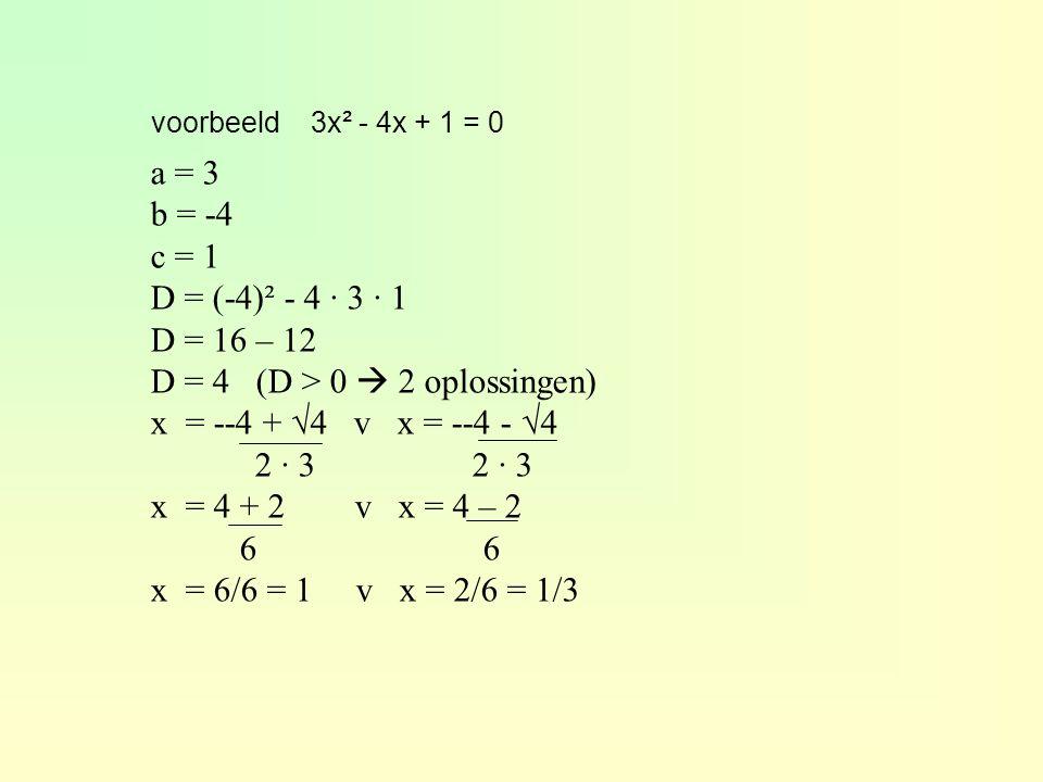 D = 4 (D > 0  2 oplossingen) x = --4 + √4 v x = --4 - √4