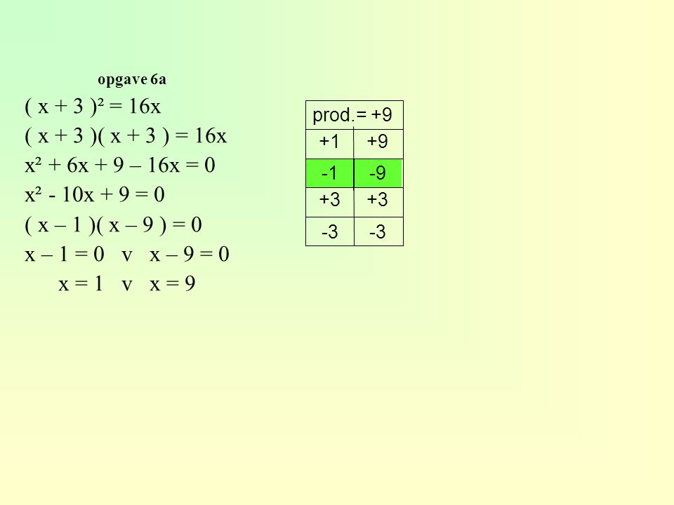( x + 3 )² = 16x ( x + 3 )( x + 3 ) = 16x x² + 6x + 9 – 16x = 0