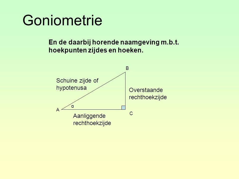 Goniometrie En de daarbij horende naamgeving m.b.t. hoekpunten zijdes en hoeken. B. Schuine zijde of hypotenusa.