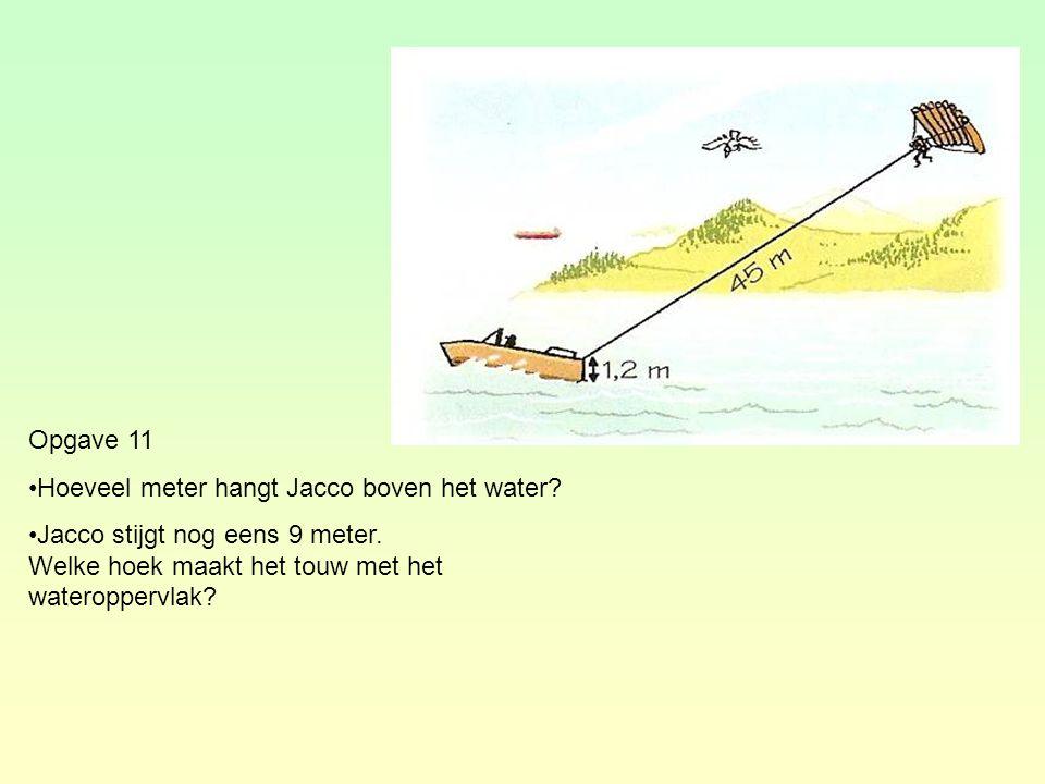 Opgave 11 Hoeveel meter hangt Jacco boven het water.