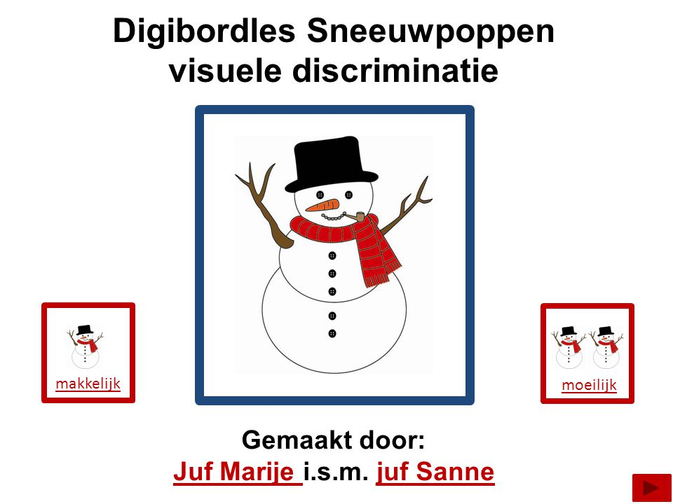 Digibordles Sneeuwpoppen visuele discriminatie