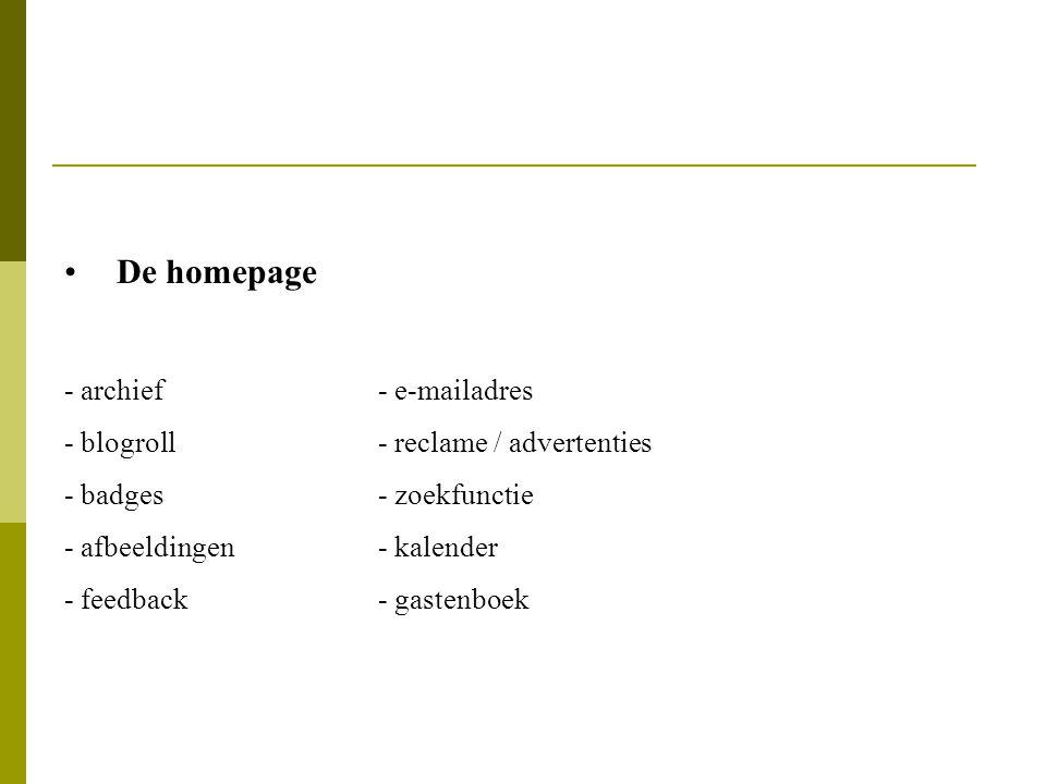 De homepage - archief - e-mailadres