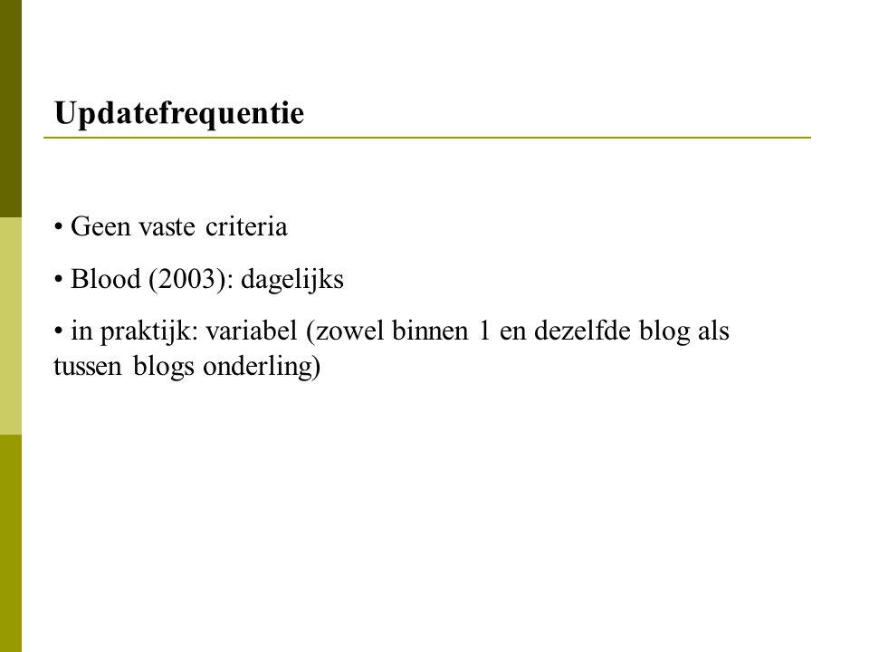 Updatefrequentie Geen vaste criteria Blood (2003): dagelijks