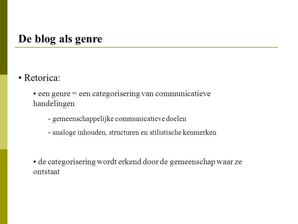 De blog als genre Retorica:
