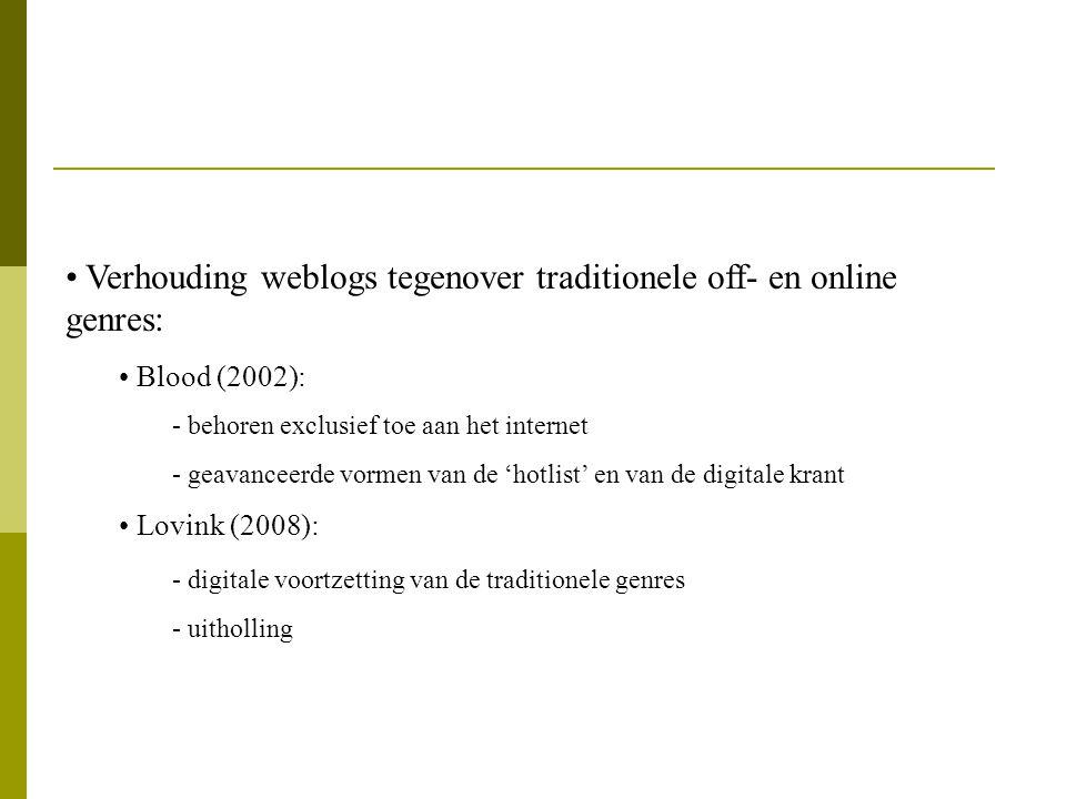 Verhouding weblogs tegenover traditionele off- en online genres: