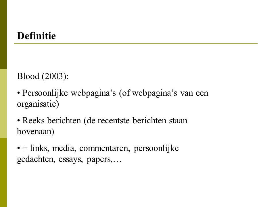 Definitie Blood (2003): Persoonlijke webpagina's (of webpagina's van een organisatie) Reeks berichten (de recentste berichten staan bovenaan)