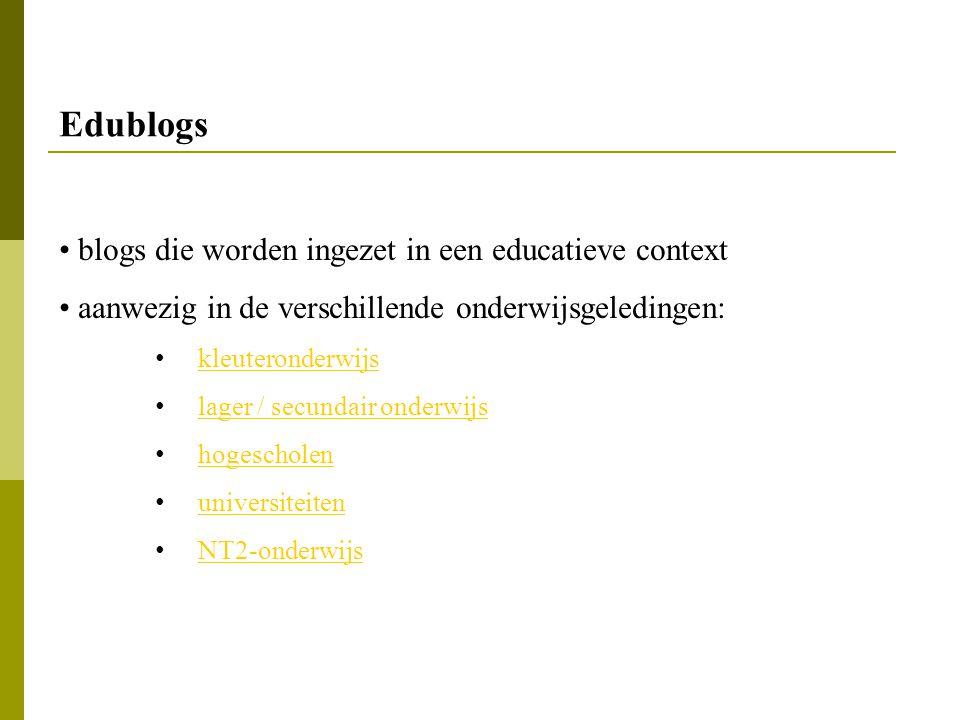 Edublogs blogs die worden ingezet in een educatieve context