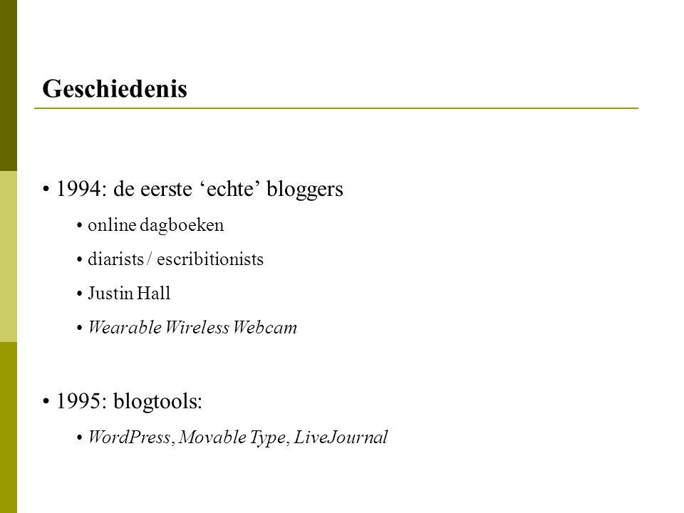 Geschiedenis 1994: de eerste 'echte' bloggers 1995: blogtools: