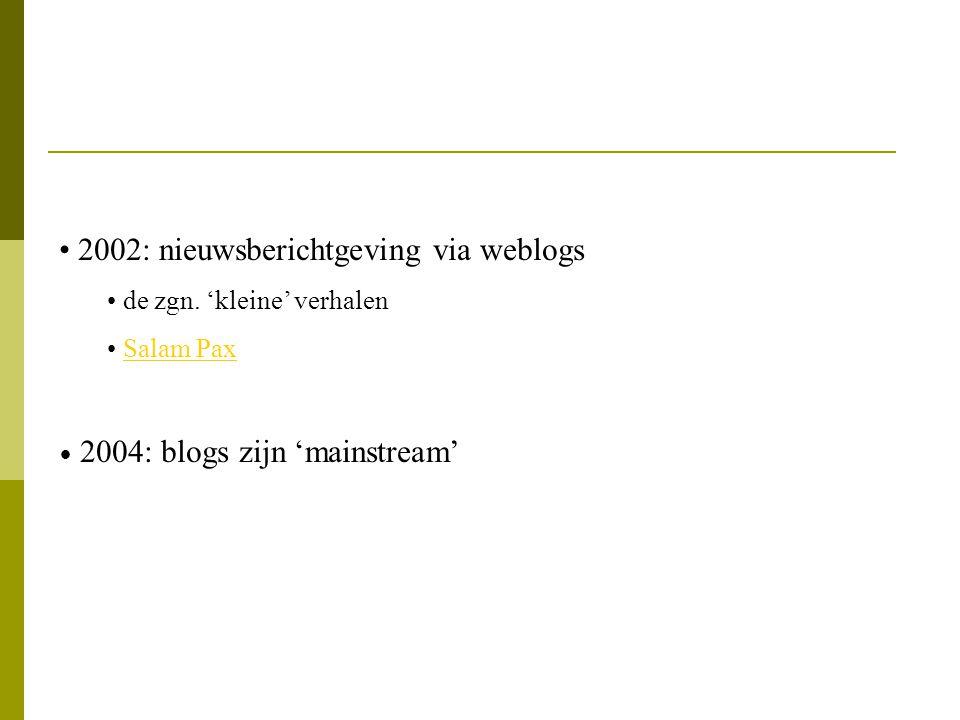 2002: nieuwsberichtgeving via weblogs