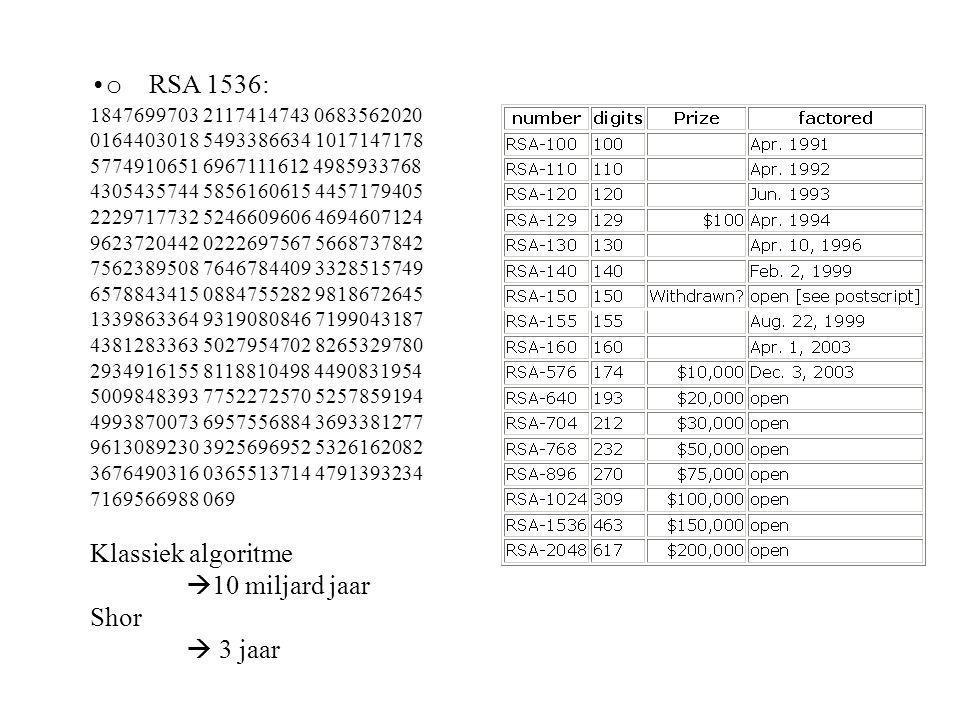 o RSA 1536: Klassiek algoritme 10 miljard jaar Shor  3 jaar
