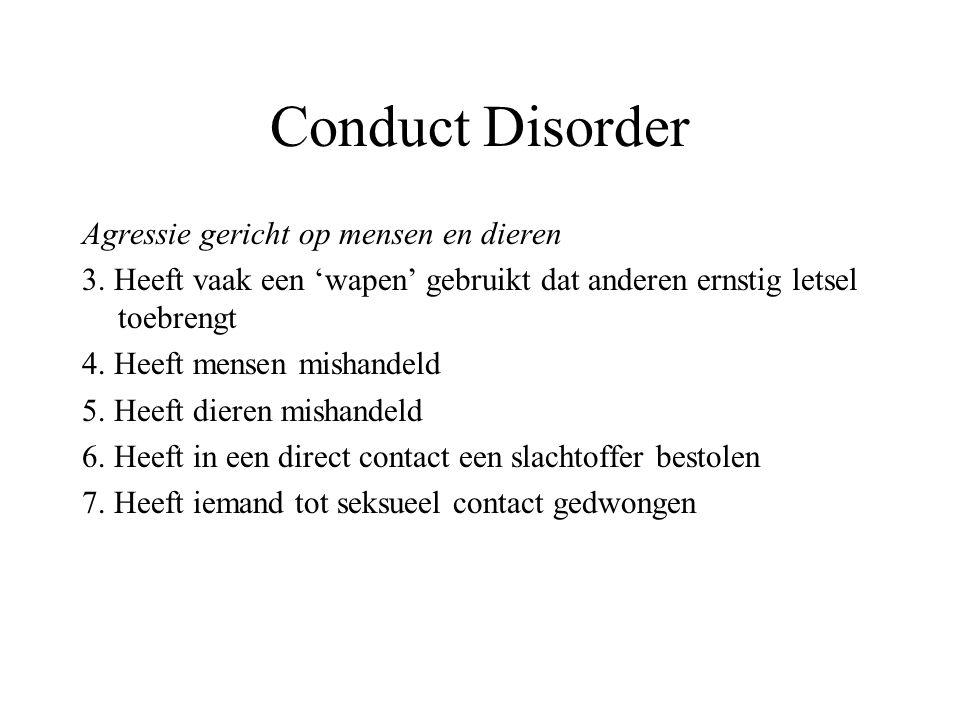 Conduct Disorder Agressie gericht op mensen en dieren