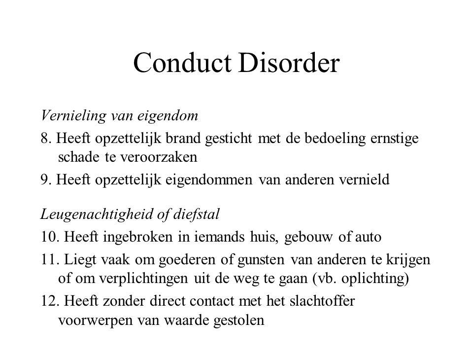 Conduct Disorder Vernieling van eigendom