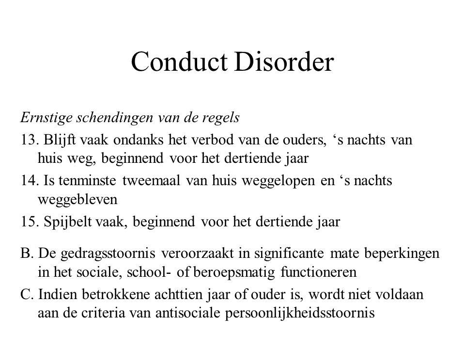 Conduct Disorder Ernstige schendingen van de regels