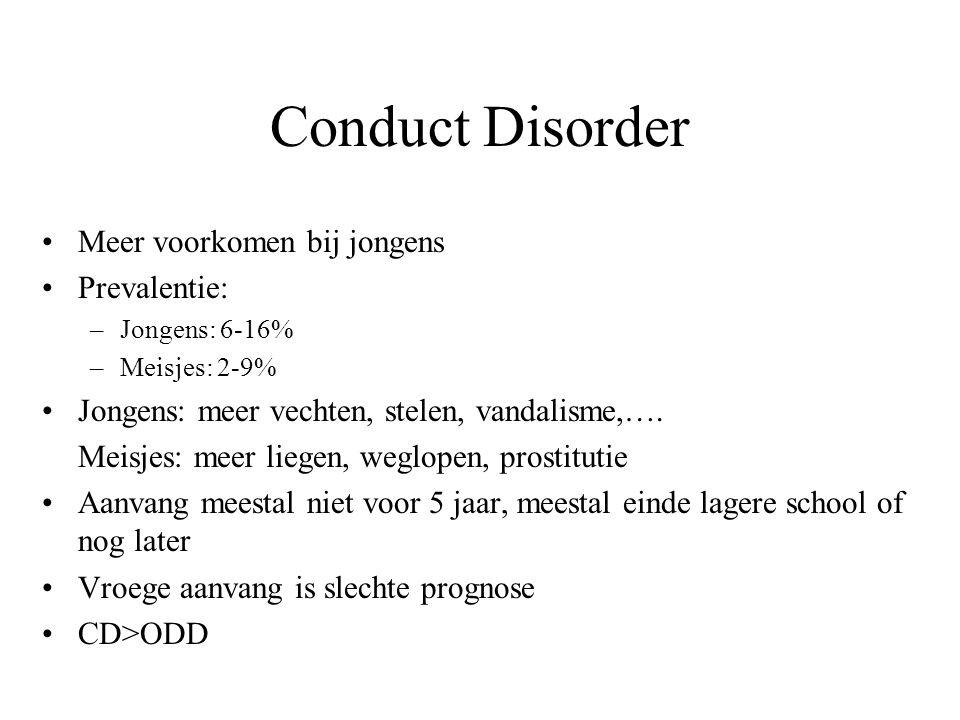 Conduct Disorder Meer voorkomen bij jongens Prevalentie: