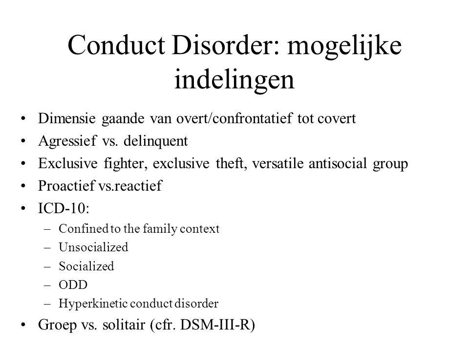 Conduct Disorder: mogelijke indelingen