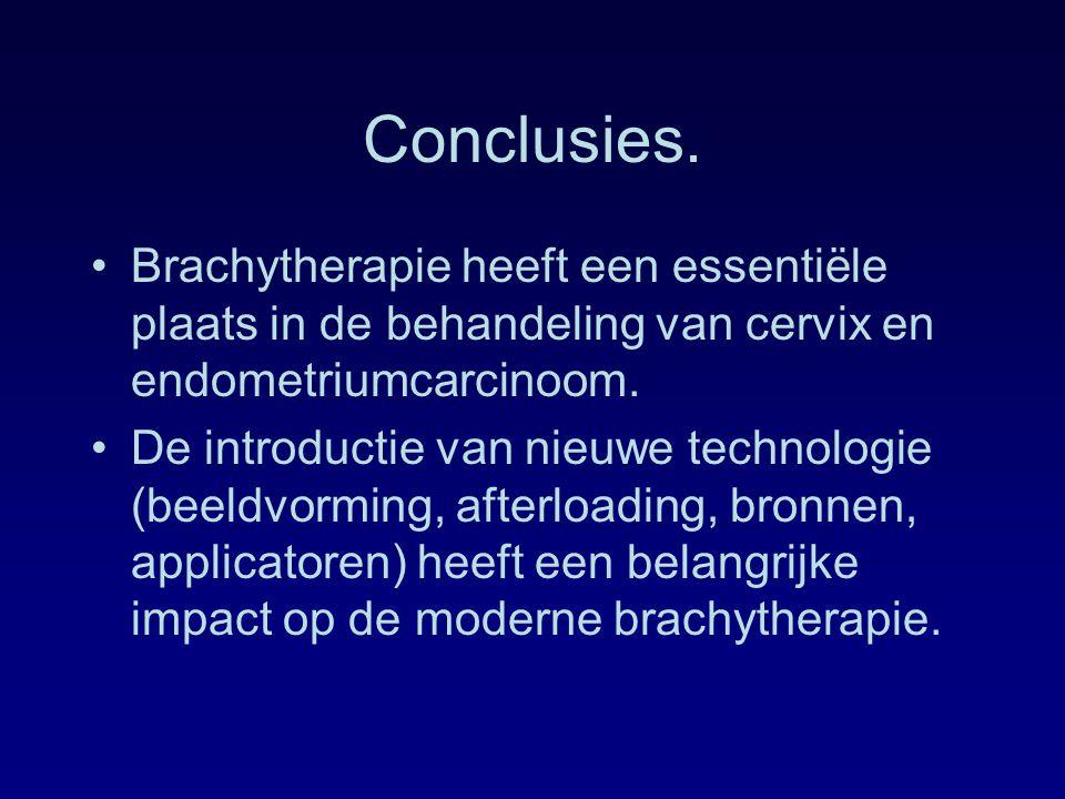 Conclusies. Brachytherapie heeft een essentiële plaats in de behandeling van cervix en endometriumcarcinoom.