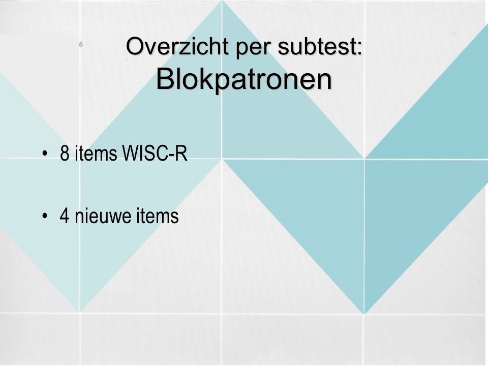 Overzicht per subtest: Blokpatronen