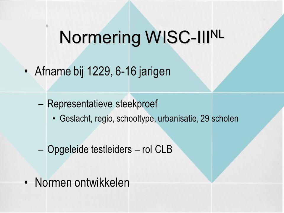 Normering WISC-IIINL Afname bij 1229, 6-16 jarigen Normen ontwikkelen
