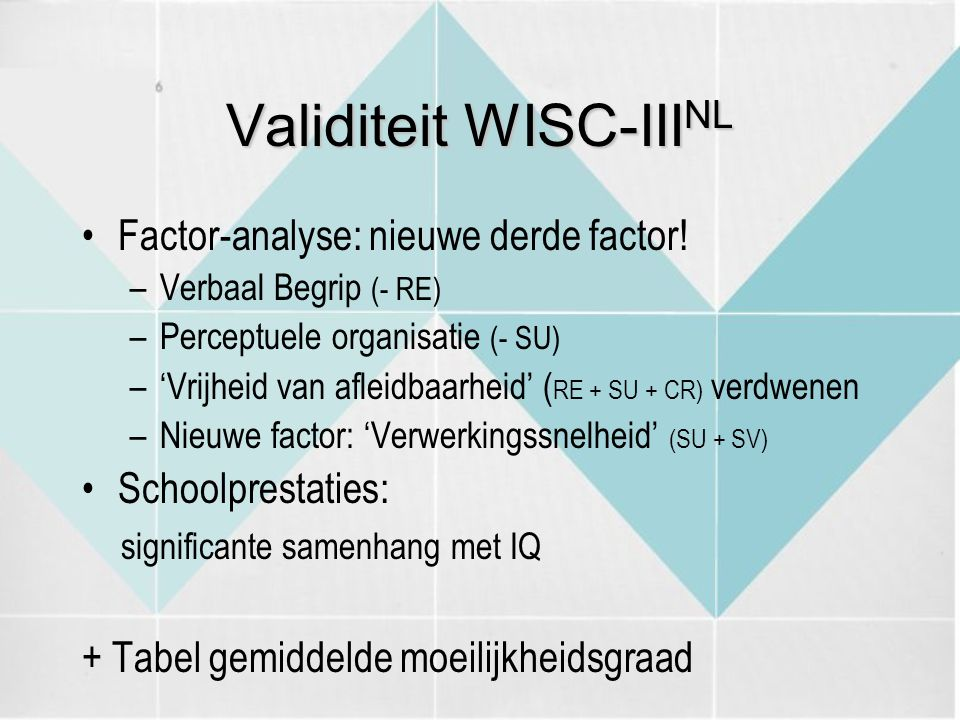 Validiteit WISC-IIINL