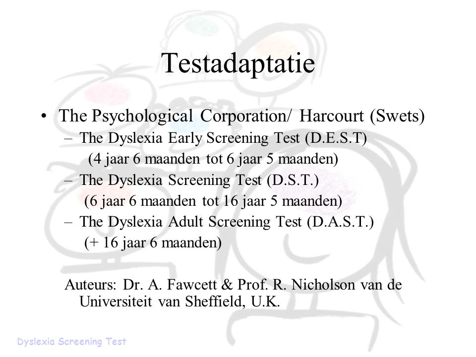 Testadaptatie The Psychological Corporation/ Harcourt (Swets)
