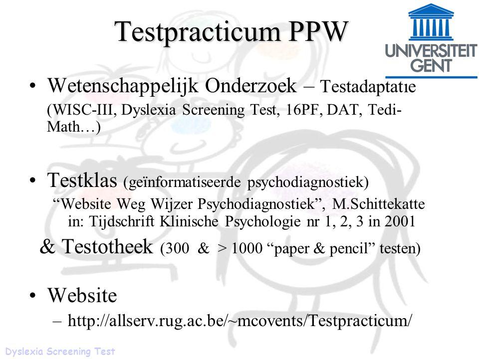 Testpracticum PPW Wetenschappelijk Onderzoek – Testadaptatie