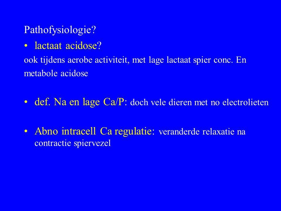 def. Na en lage Ca/P: doch vele dieren met no electrolieten