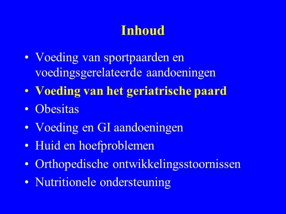 Inhoud Voeding van sportpaarden en voedingsgerelateerde aandoeningen