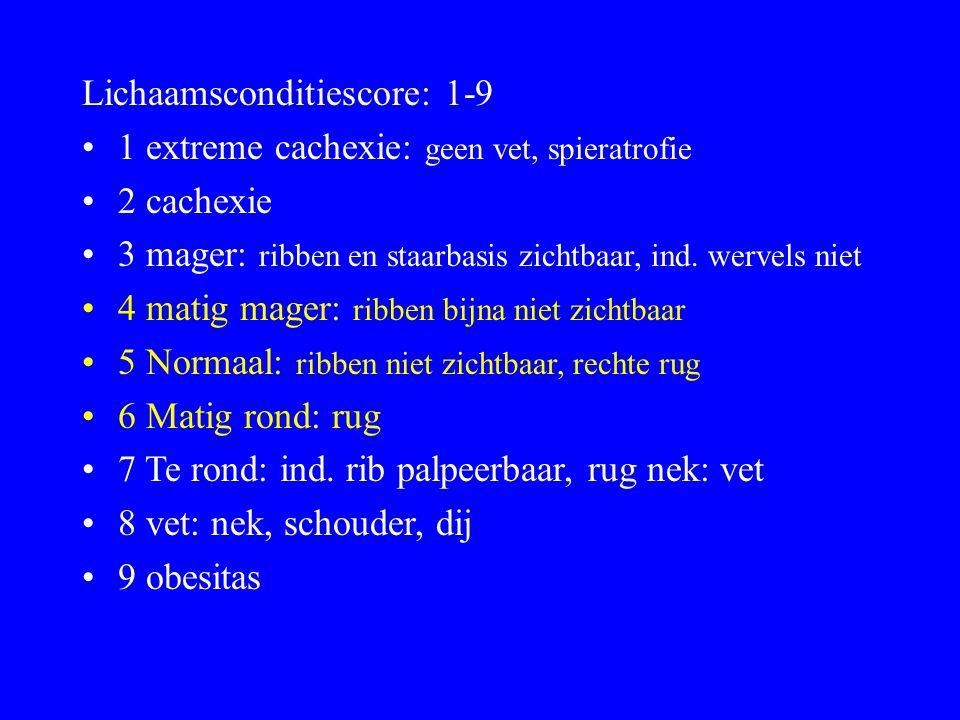 Lichaamsconditiescore: 1-9
