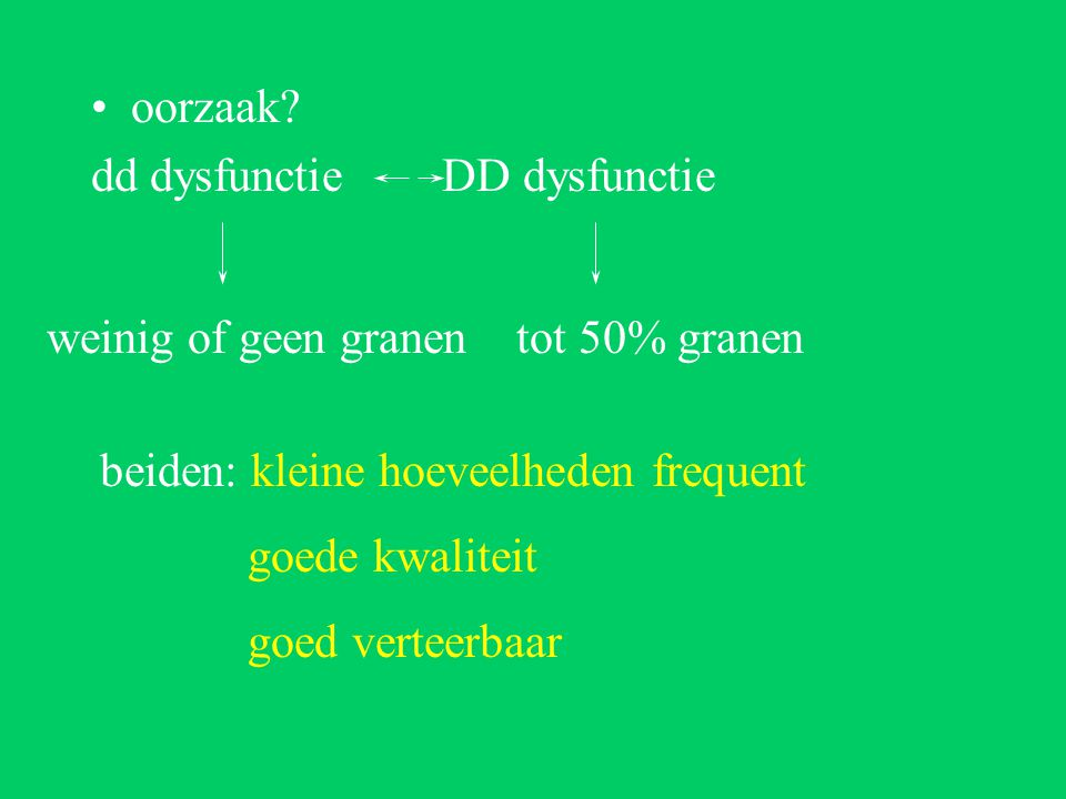 oorzaak dd dysfunctie DD dysfunctie. weinig of geen granen tot 50% granen. beiden: kleine hoeveelheden frequent.