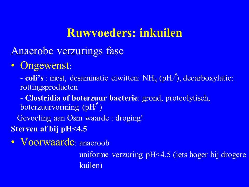 Ruwvoeders: inkuilen Anaerobe verzurings fase Ongewenst: